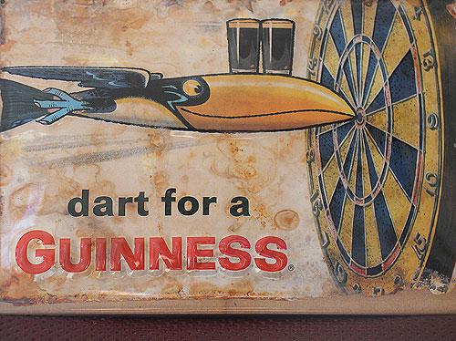 Guinness Metal Advertising Sign Dart For A Guinness