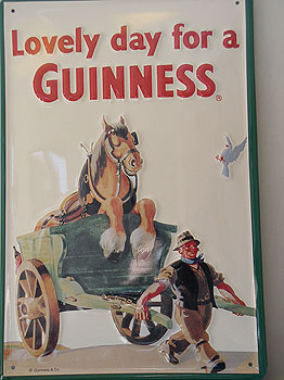 Guinness Metal Advertising Sign Horse In Cart