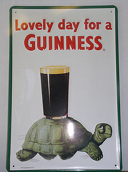 Guinness Metal Advertising Sign Tortoise