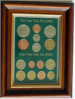Framed old Irish Coin Sets
